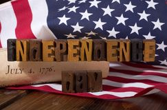 Independence Day banner with the American flag and Declaration o stock photos