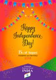 Independence Day 15th of August India. Happy Independence Day 15th of August, India Holiday, Calligraphy lettering, Greeting card. Indian flag color, fireworks Stock Photo