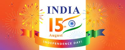 Independence Day 15th of August India. Happy Independence Day 15th of August, India Holiday, Calligraphy lettering, Greeting card. Indian flag color, fireworks stock illustration