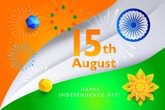 Independence Day 15th of August India. Happy Independence Day 15th of August, India Holiday, Greeting card. Indian flag color, fireworks, Event festival Stock Images