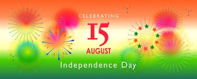 Independence Day 15th of August India. Happy Independence Day 15th of August, India Holiday, Greeting card. Indian flag color, fireworks, Event festival Stock Photos
