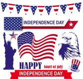 Independence day 4th of July in America set. American symbols Stock Photos