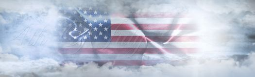 Independence Day, 4th of July. American Flag In The Sky. Surrounded By Clouds And Sun Rays royalty free illustration