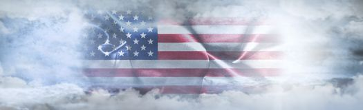 Independence Day, 4th of July. American Flag In The Sky. Surrounded By Clouds And Sun Rays stock illustration