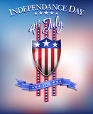 Independence Day 4th July Background. American Flag on Shield 4th July Celebration Background vector illustration