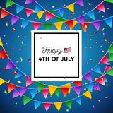 Independence Day 4th July card design vector image. Independence Day 4th July card design with rainbow colored bunting or flags over a blue background with royalty free illustration