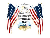 Independence day the 4th of July card. Independence day typographic card with american flags and painted landscape vector illustration