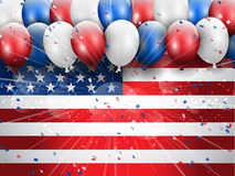 Independence Day 4th July celebration background. With balloons and confetti stock illustration