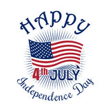 Independence Day. 4th of July. Fourth of July. Independence Day icon. 4th of July. Fourth of July. Happy Independence Day of America. Waving US flag. Color icon royalty free illustration