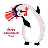 Independence day 4 th july. Happy independence day. American flag. Character animal in american hat vector illustration