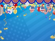 Independence day 4th july. Happy independence day. fourth of jul. Y day of the usa American national flag and balloons colors paint stroke Royalty Free Stock Image