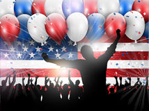 Independence Day 4th july party background 0406. Independence Day 4th July celebration background with balloons and confetti Royalty Free Stock Photography