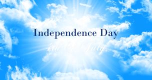 Independence Day, 4th of July Sign Against Blue Sky Background Royalty Free Stock Photos