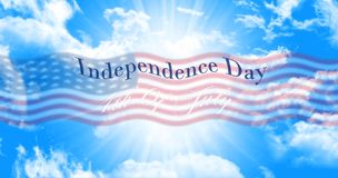 Independence Day, 4th of July Sign Against Blue Sky Background. With American Flag Stock Images