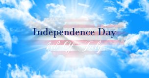 Independence Day, 4th of July Sign Against Blue Sky Background W. Ith American Flag and Map Stock Photos