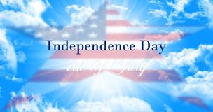 Independence Day, 4th of July Sign Against Blue Sky Background W. Ith American Flag In Shape Of a Star Stock Photo