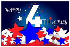 Independence Day. 4 th July with star and flag. USA Independence day, Happy 4th of July. Colorful patriotic template for greeting card, flyer, poster, banner royalty free illustration