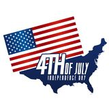 Independence Day 4th July, United States of america Day. USA Map and Flag Design. Eps10 Vector Stock Image