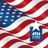 Independence Day 4th of July USA flag greeting card. Poster background banner vector royalty free illustration