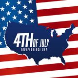 Independence Day 4th July. USA Map and Flag Design. Eps10 Vector Royalty Free Stock Images