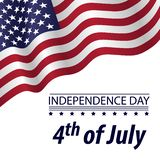 Independence Day 4 th of July with a waving flag on white background. Greeting card patriotic poster stock illustration