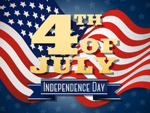 Independence day, 4th of July wavy flag design Royalty Free Stock Photo