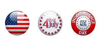 Independence day - three badges on white background Stock Image