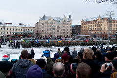 Independence day troop review. Crowd overlooking the troop review of Finnish self defence forces on independence day 6th December 2011 in Tampere. http://www Stock Images