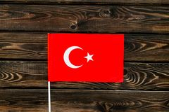 Independence Day of Turkey concept with flag on wooden background top view.  royalty free stock photos