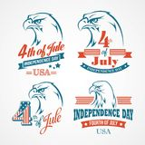 Independence Day typography and an eagle. Vector Stock Image