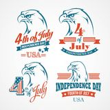 Independence Day typography and an eagle. Vector Royalty Free Stock Photo