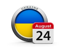 Independence Day of Ukraine. Emblem of Ukraine with calendar button - Twenty Fourth of August - represents the Independence day, three-dimensional rendering royalty free illustration