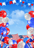 Independence day. Of United States of America  - festive vector card with rockets fireworks and balloon on blue sky background Stock Photography