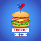 Independence Day United States American Holiday Burger With Flag. Vector Illustration Royalty Free Stock Images