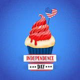 Independence Day United States American Holiday Cupcake With Flag Royalty Free Stock Photo