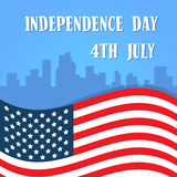 Independence Day United States Flag Over City View American Holiday Stock Photos
