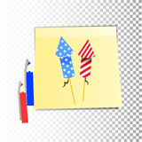 Independence Day United States. Fourth of July. Illustration for your design. Attributes of the holiday with the coloring of the American flag on stickers Royalty Free Stock Photos