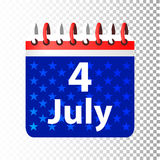 Independence Day United States. Fourth of July. Illustration for your design. Attributes of the holiday with the coloring of the American flag. the calendar royalty free illustration