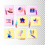 Independence Day United States. Fourth of July. Illustration for your design. Attributes of the holiday with the coloring of the American flag on stickers Royalty Free Stock Photo
