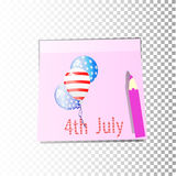 Independence Day United States. Fourth of July. Illustration for your design. Attributes of the holiday with the coloring of the American flag on stickers stock illustration