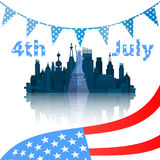 Independence Day United States. New York with the inscription and the US flag. Vector illustration for your design royalty free illustration