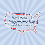 Independence Day (United States). Outline map of United States for Independence Day, Fourth of July Stock Photo