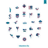 Independence Day of the United States. 4th of July, Independence Day of the United States, Simple Flat Icons. Vector Royalty Free Stock Image