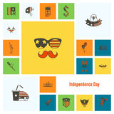 Independence Day of the United States. 4th of July, Independence Day of the United States, Simple Flat Icons. Vector Stock Photos