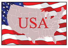 Independence Day. US card against the backdrop of America flag. vector.  Royalty Free Stock Images