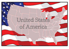 Independence Day. US card against the backdrop of America flag. vector.  Royalty Free Stock Photos