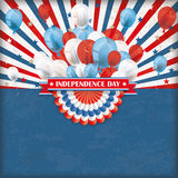 Independence Day US Flag Bunting Balloons Retro Sun Stock Photos