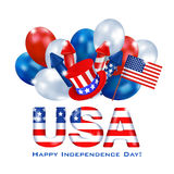 Independence Day USA background 7. Greeting web banner Independence Day of America. Square white background with a dimensional inscription USA painted in the Stock Photos