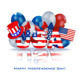 Independence Day USA background 6. Greeting web banner Independence Day of America. Square white background with a dimensional inscription USA painted in the Stock Images