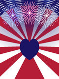 Independence Day USA background with heart. Stock Photo